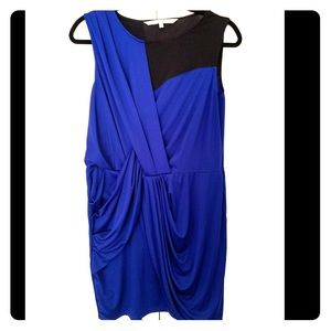 Blue mock wrap dress